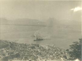 "Ulster Prince  Βρετανικό επιβατηγό πλοίο.. Βομβαρδίστηκε και από γερμανικά stukas και βυθίστηκε στο Ναύπλιο το 1941. Φωτογραφία από το φωτογραφικό αρχείο του Προοδευτικού Συλλόγου Ναυπλίου ""Ο ΠΑΛΑΜΗΔΗΣ"" λίγο μετά τον βομβαρδισμό τον Απρίλιο του  1941"